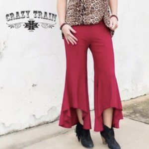 Red Wine Colored High Low Bell Bottom Pants XXL